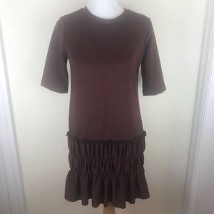 Zara Medium Burgundy Rouched Short Sleeve Dress